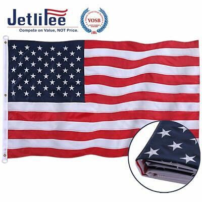 Jetlifee American Flag 8X12 Ft - By U.S. Veterans Owned Biz. Embroidered Stars,