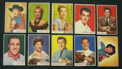 "1953 Topps - ""WHO-Z-AT STAR"" Lot of  10 Cards - Steve Forrest - Ava Gardner - NR"