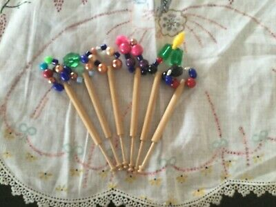 3prs 6x  Spangled Lace Making Bobbins- Free Postage And Packing