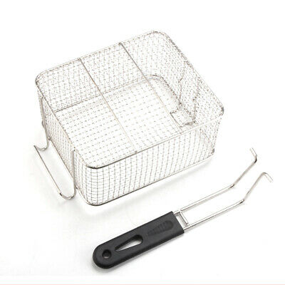 Strainer Serving-Plastic Handle Fry Basket-Square Kitchen Tool Stainless Steel