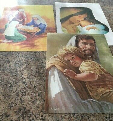 3 Sunday School type Jesus posters Toddler resources baby child Lithograft