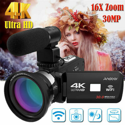 Andoer 4K Ultra HD WiFi Digital Video Camera Camcorder Recorder +Mic+ Lens A8H3
