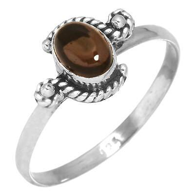 Solid 925 Sterling Silver Ring Genuine Smoky Topaz Women Jewelry Size 10 Wh10828