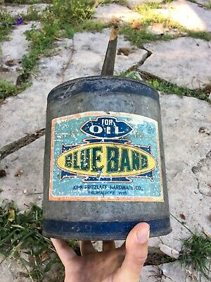 Vtg Metal Gasoline Oil Kerosene Blue Band Can original sign label Milwaukee WI