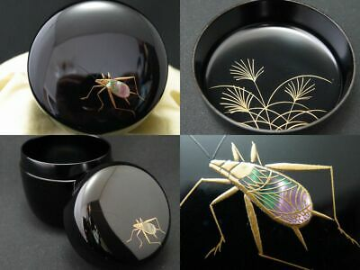 Japanese WAJIMA Lacquer Wooden Tea caddy INSECT makie Chu-Natsume chaire (1113)