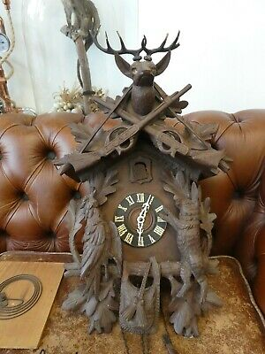 Large Antique Black Forest Cuckoo Clock Deer Hunting/Game Working But Needs TLC