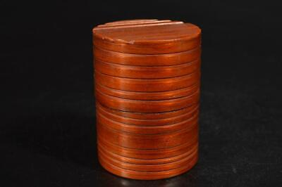 A1262: Japanese Wooden Lacquer ware Shapely TEA CADDY Chaire Container Natsume