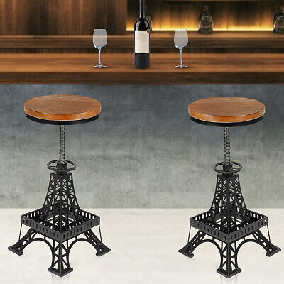 2x Retro Industrial Urban Bar Stool Chair Wooden Top Vintage Cafe Counter Seat