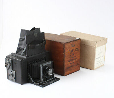 GRAFLEX 3A AUTOGRAPHIC, WITH CARDBOARD BOX + WOODEN BOX/cks/199300