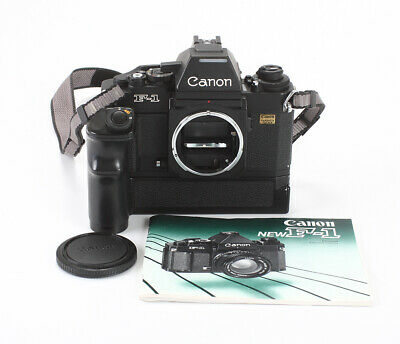 "Canon F-1 New Electronic Black Body, ""Garanzia Totale"" Label + Winder/197424"