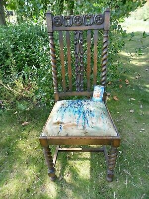 Vintage Ornately Carved Oak Hall Chair With Barley Twist Legs And Velvet Seat