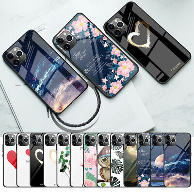 Cute Patterned Tempered Glass Hybrid Case Cover For iPhone 11 Pro Max XS XR 8 7