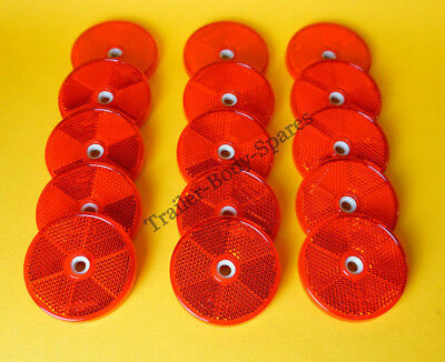 15 x 60mm Red Hi-Intensity Reflectors for gateposts caravans trailers horseboxes