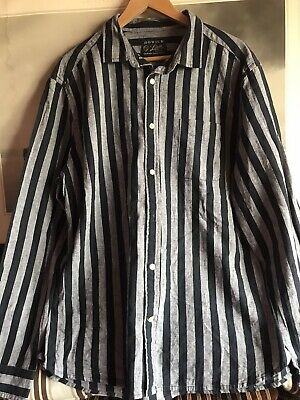 Howick House of Fraser Mens Striped Shirt Linen Blend Size X Large , XL