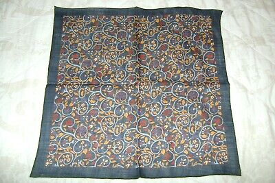 "New Macclesfield silk wool mix pocket square 16"" navy blue birds hand rolled"