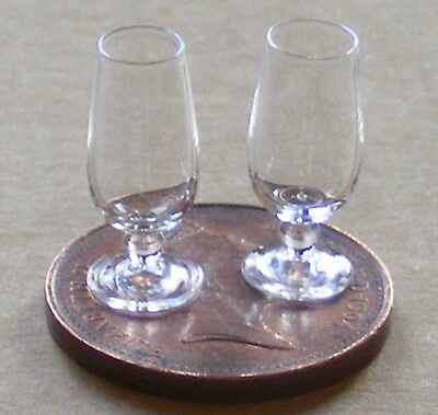 1:12 Scale 2 Metal Wine Goblets Tumdee Dolls House Miniature Pub Bar Accessory B