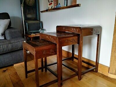 Camphor wood nest of tables. Chinese carved tables
