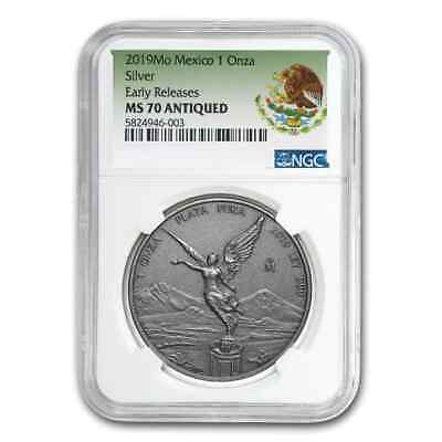 2019 Mexico 1 oz Silver Libertad Antiqued Finish MS-70 NGC (ER) - SKU#200811
