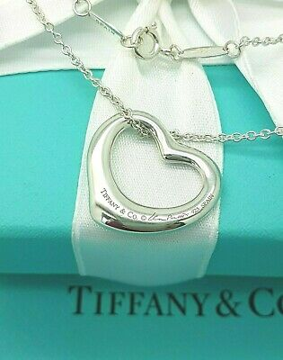 Tiffany & Co Silver Elsa Peretti 22mm Open Heart Pendant Necklace RRP £285