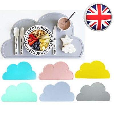 Kids Baby Bowl Room Table Mat Silicone Placemat Cloud Shaped Kitchen Pad Dining