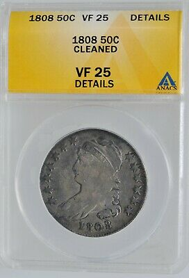 1808 Capped Bust Half Dollar ANACS VF 25  Details Investment Coin