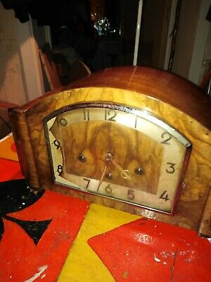 Vintage Walnut Mantel  Clock  H.A.C . 2 Tunes & Strikes  On Hour & Half Workin