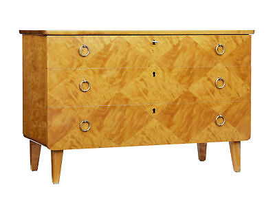 Mid 20Th Century Scandinavian Patterned Birch Chest Of Drawers