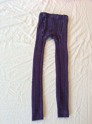 Mini Boden Girls 11-12Y Purple Cableknit Footless Tights Cable Knit