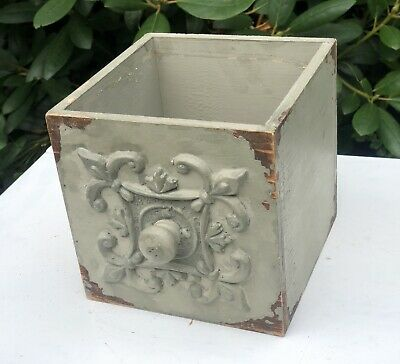 Antique Vintage Shabby Chic Rustic Painted Wood Draw Flower Pot Jardiniere