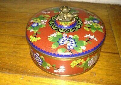 Antique Chinese 19thc large bronze or  brass cloisonne box with foo dog finial