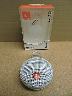 JBL Clip 3 Portable Bluetooth Waterproof Speaker (White)