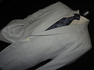 Brooks Brothers Fitzgerald Men's 100% cotton seersucker sports jacket coat 46 R