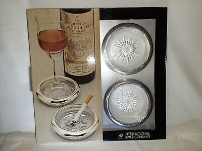 Vintage International Silver Co. Silverplate Coaster Set of 4, New in Box, Italy