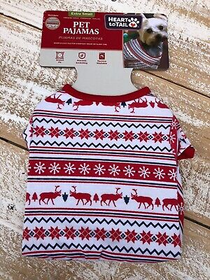Heart To Tail Dog Pet Pajamas Red/White/Blue Reindeer  Sz X-Small