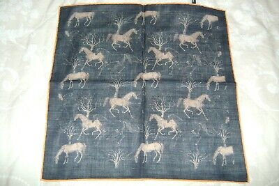 "New Macclesfield silk wool mix pocket square 15.5"" black with horses hand rolled"