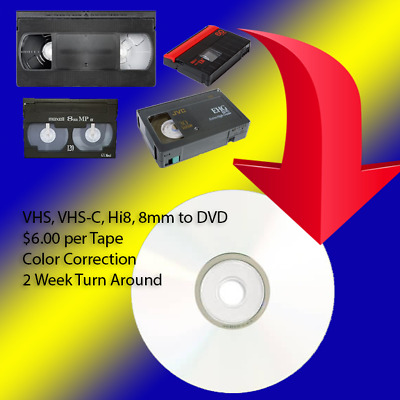 Transfer Your VHS, VHS-C, 8mm, Hi8, MiniDV Home Movies, Vacations to DVD