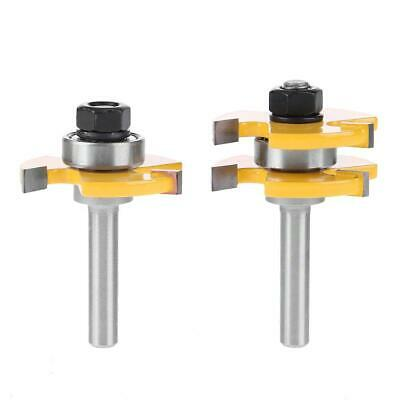 "2pcs Tongue And Groove Router Bit 1//4/"" Shank Chisel Woodworking Mill F9P8"
