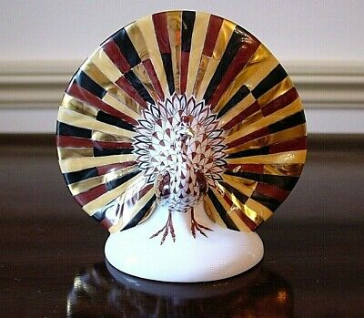 """Herend, 4.25"""" Peacock Porcelain Figurine, Chocolate Fishnet, Flawless, $540"""