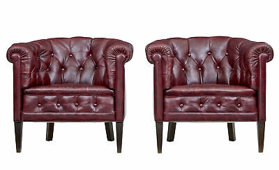 Pair Of Mid 20Th Century Red Leather Club Armchairs