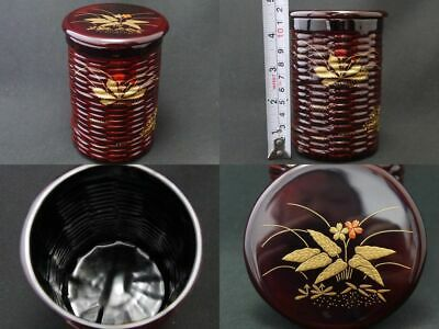 Japanese Lacquer Tea caddy SPRING FIELD makie Kago-Natsume 4.52 inched Long 1108