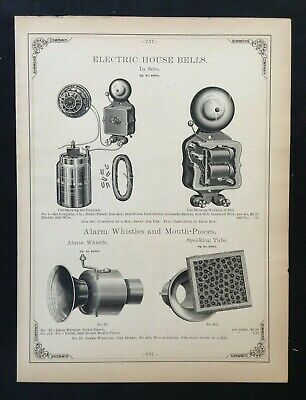 1888 Vintage Simmons Hardware Catalog Pg ~ Electric House Bells Whistles
