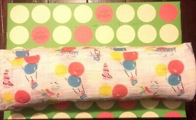New Mini Baby Boden Muslin Swaddle Blanket Hot Air Balloon Yellow Blue Pink Cott