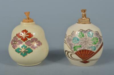 M1958: Japanese Kiyomizu-ware Flower pattern TEA CADDY Chaire Container 2pcs