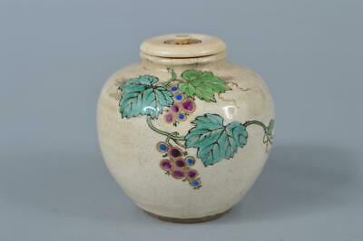 M1614: Japanese Old Kiyomizu-ware TEA CADDY Chaire Container with High class lid