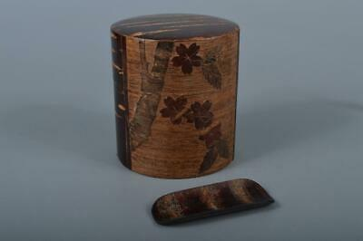 M1305: Japanese Wooden Metal Cherry bark art TEA CADDY Chaire Container