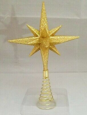 "Moravian Star Tree Topper Small Gold Christmas Acrylic 6"" Kurt Adler"