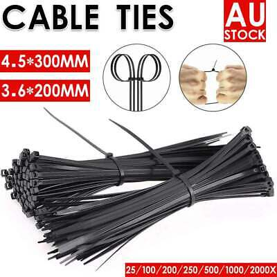 AU 2000Pcs Bulk Cable Ties Zip Ties Black (4.8mm x 300mm) Nylon UV Stabilised