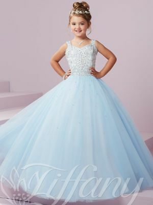 Blue Tulle Beaded A-line Princess Pageant Dance Wedding Prom Birthday Ball Gown