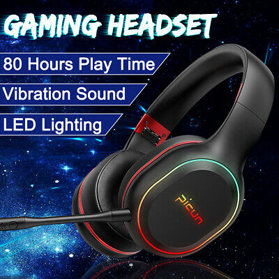 LED bluetooth Wireless Gaming Headphones Headset Earphones Mic For NS XBOX One