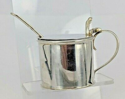 1909 Chester silver mustard pot with prince of wales feather thumbpiece